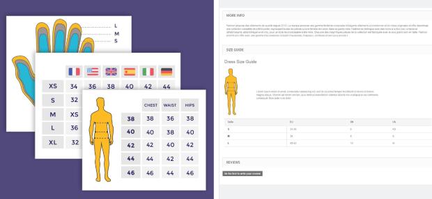 Muestre una tabla de tallas detallada en la página del producto WooCommerce